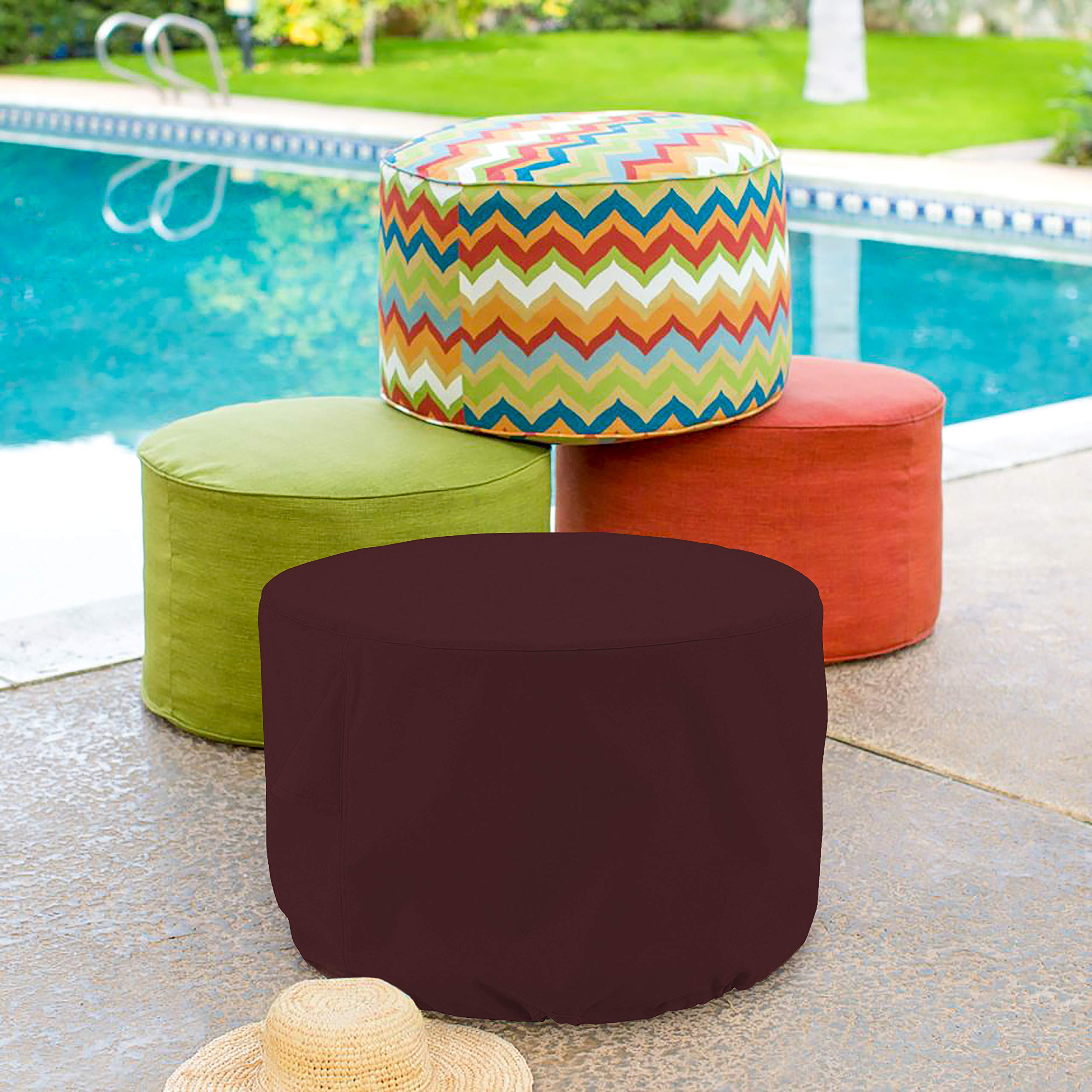 Outdoor Ottoman Cover 18 Oz - Waterproof & Weather Resistant Patio Furniture Covers - Round Ottoman Cover Heavy Duty Fabric with Drawstring for Snug fit (50'' Dia x 24'' H, Burgundy) by COVERS & ALL (Image #6)
