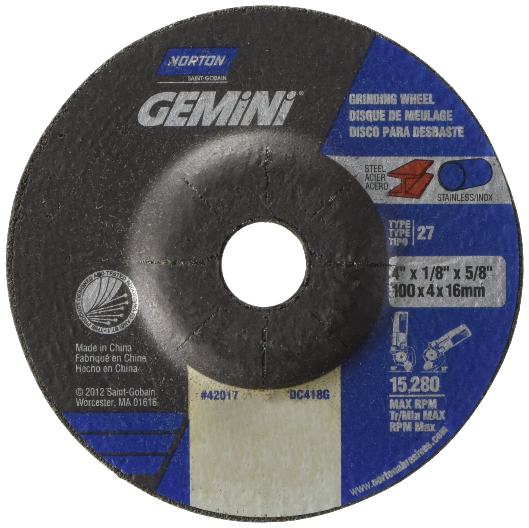 Norton Gemini Depressed Center Abrasive Wheel, Type 27, Aluminum Oxide, 5/8'' Arbor, 4'' Diameter x 1/8'' Thickness (Pack of 25)