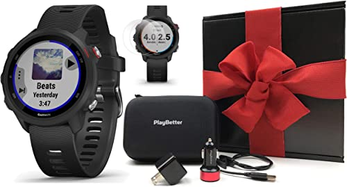 Garmin Forerunner 245 Music Black Gift Box Bundle PlayBetter HD Screen Protectors x4
