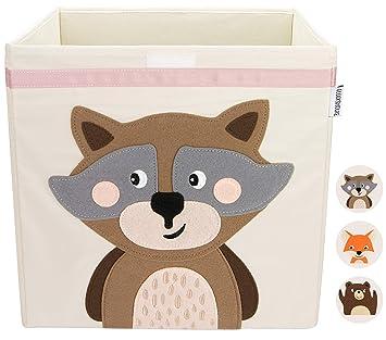 GLÜCKSWOLKE Aufbewahrungsbox für Kinderzimmer I praktische Spielzeugkiste mit Deckel und Griffe I Kinder Spielzeug-Box (33x33