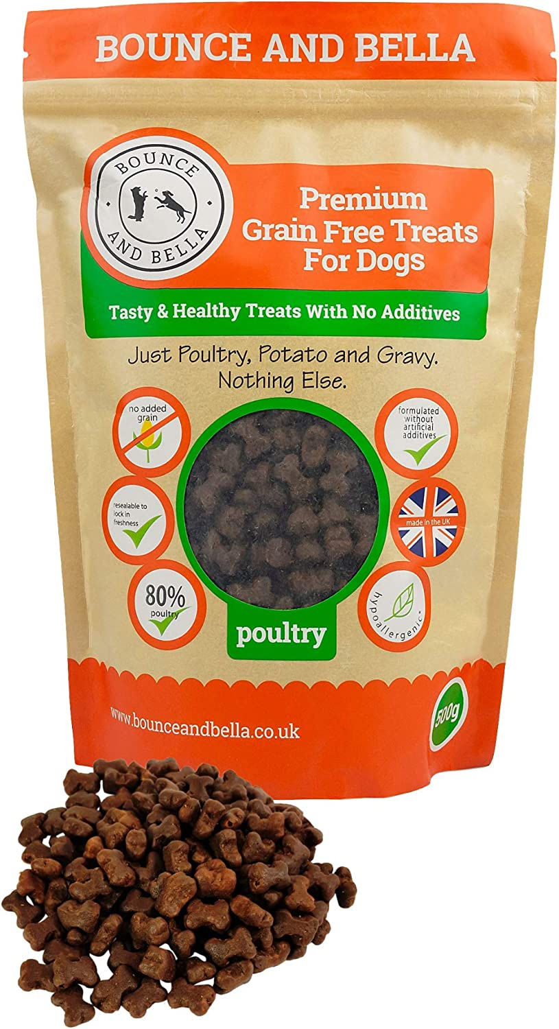Bounce And Bella Grain Free Dog Training Treats 800 Tasty Healthy Treat Pack 80 Fresh Poultry Meat 20 Potatoes Gravy Hypoallergenic