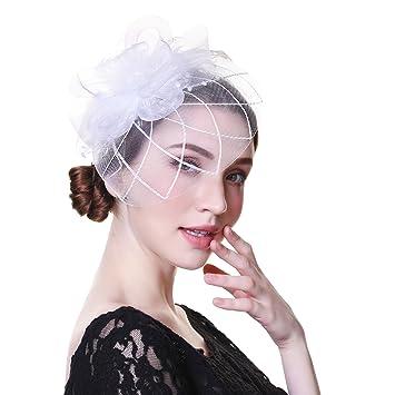 Amazon.com  Fascinator Hat Mesh Flower Headwear – AWAYTR Tea Party ... cd66c375c28