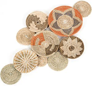 Comay Craft 10 Pcs Living Room Wall Decor, Oversized Boho Room Decor Wicker Baskets, Hanging Woven Wall Basket, Seagrass Baskets for Wall Decor, Decorative Baskets for Home Decor