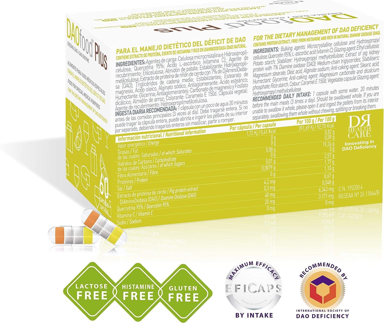 DAOfood Plus – Manejo Dietético del Déficit de DAO/Intolerancia a la Histamina - 60 Cápsulas con Comprimidos Gastrorresistentes – Enzima DAO, ...