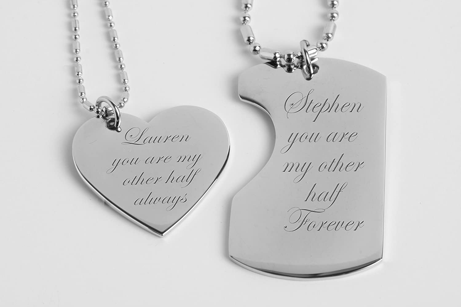 Amazon.com: Personalized His & Hers Mini Dog Tag & Heart Necklace ...