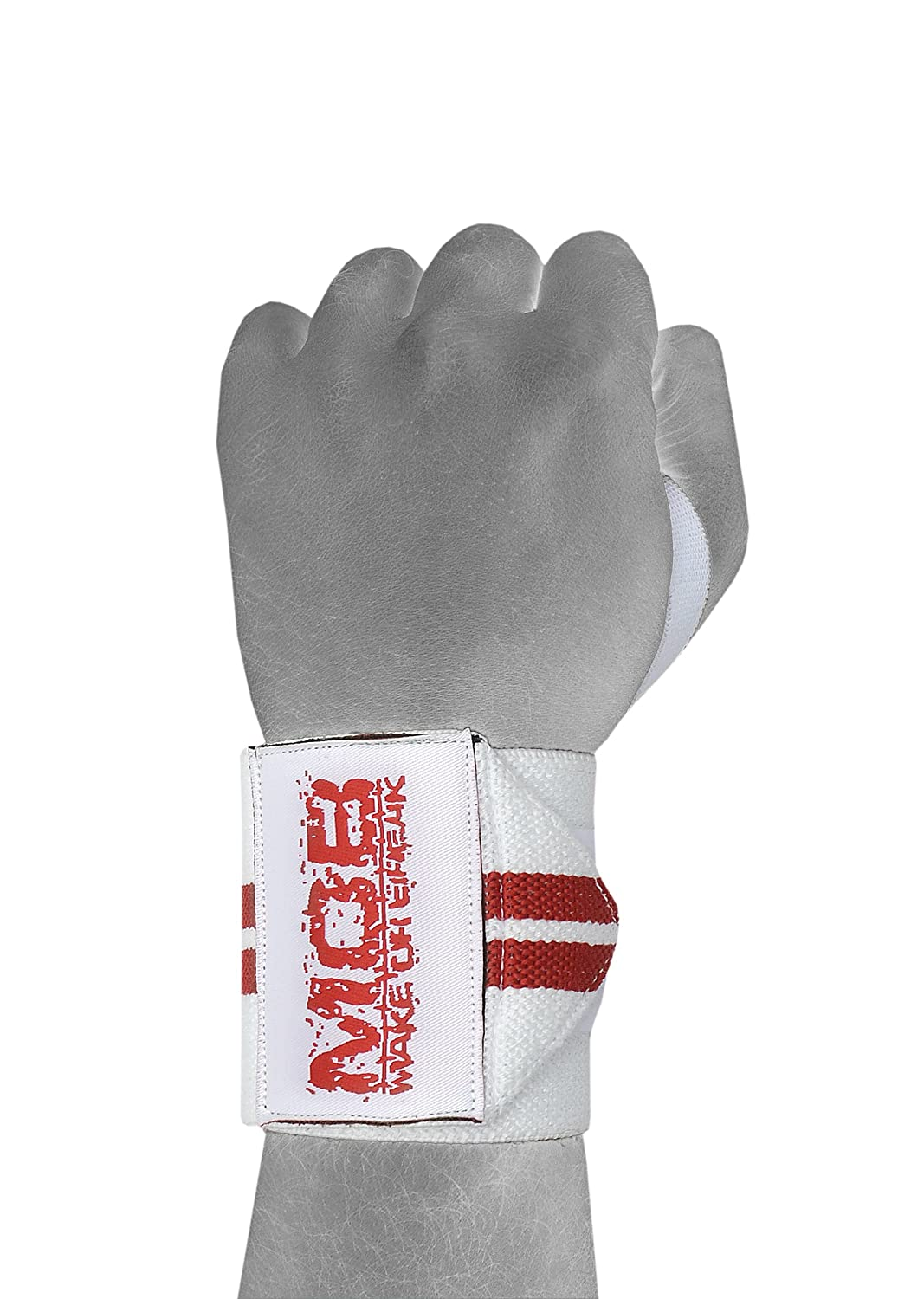 White-Red, 13 Power Weight Lifting Wrist Wraps Supports Gym Training Crossfit Bodybuilding Workout Exercise Fist Straps