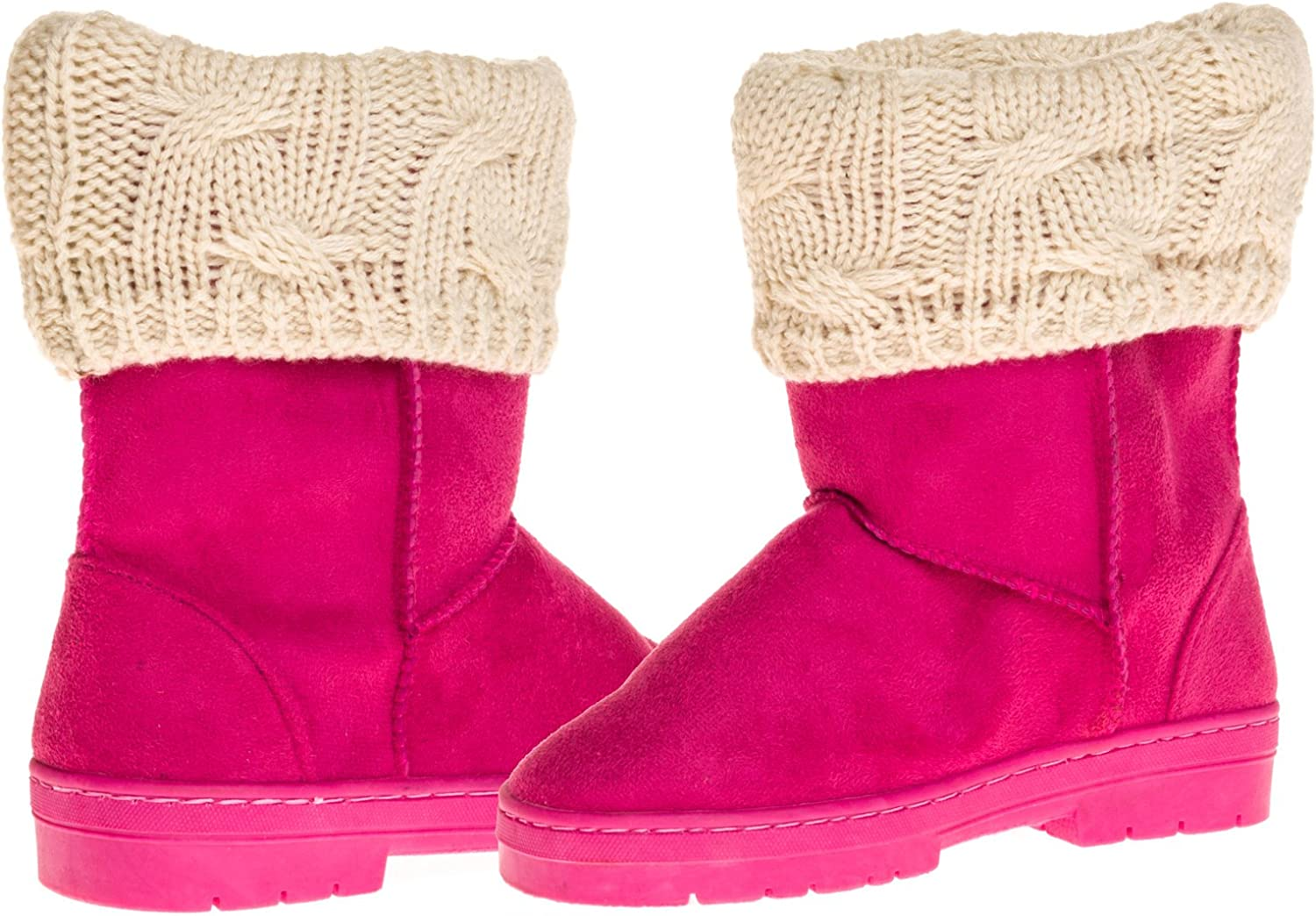 Sara Z Girls Suede Lug Sole Winter Boot with Fold-Over Sweater Cuff See More Colors /& Sizes