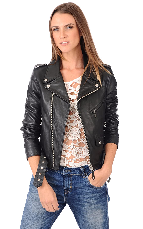 Black Zoha Collection Women's Lambskin Bomber Biker Jacket