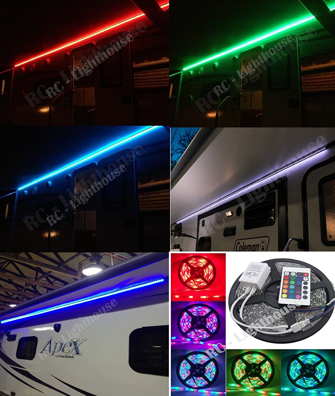 Amazon RV Awning Camper Recreational Vehicle RGB LED Lights 6 Feet Of Strips With 24 Key IR Remote Control Sports Outdoors