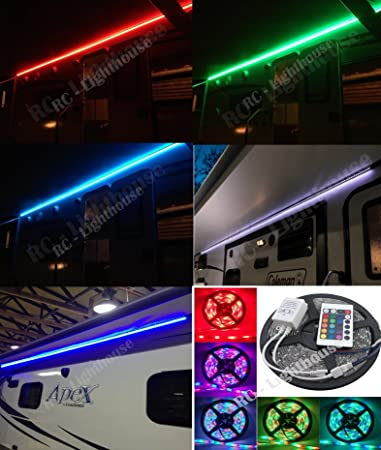 Amazon rv awning camper recreational vehicle rgb led lights rv awning camper recreational vehicle rgb led lights 6 feet of led strips with 24 key mozeypictures Images