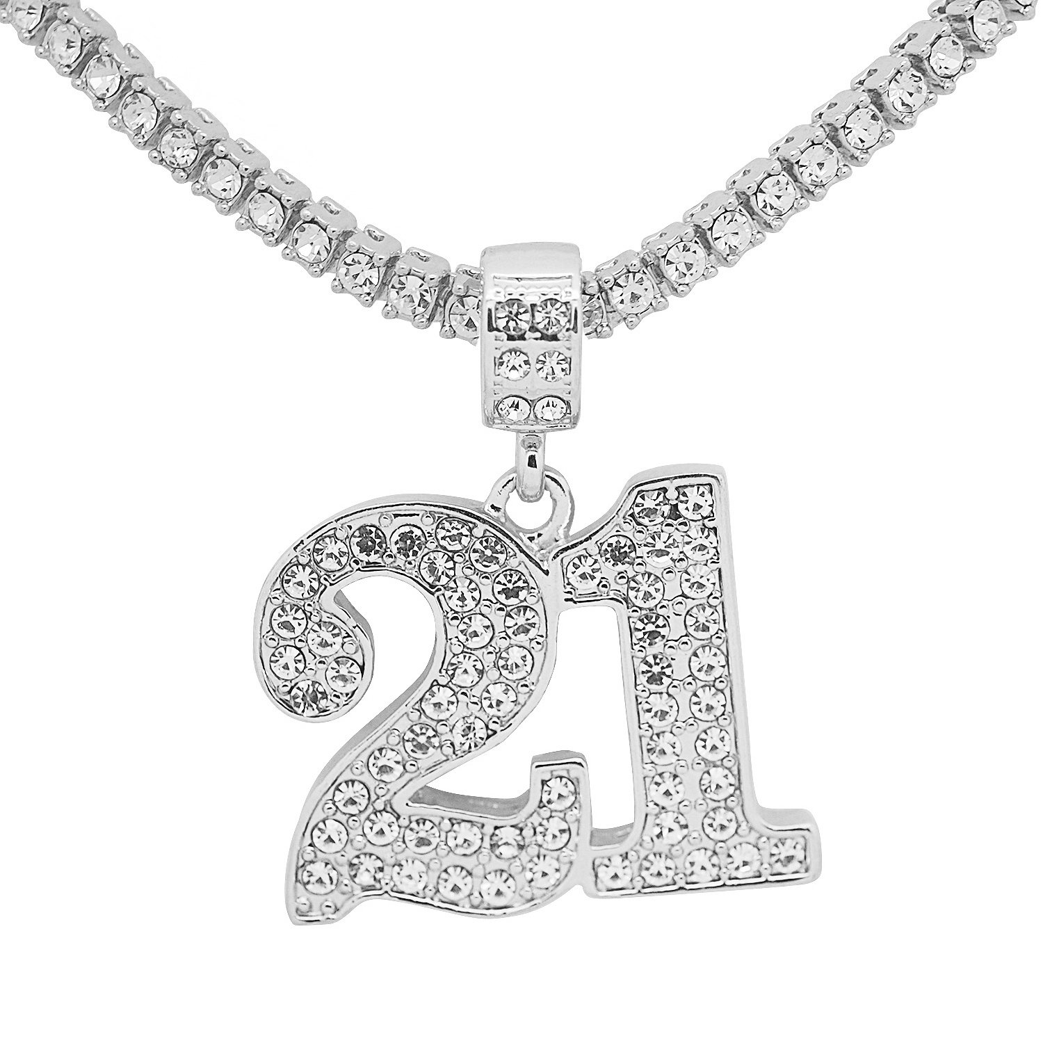White Gold-Tone Hip Hop Bling Simulated Crystal Lucky Charm Number 21 Pendant with 16 Tennis Chain and 24 Rope Chain