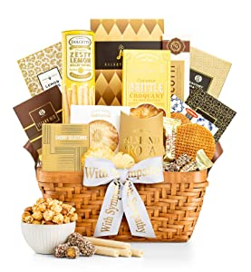 GiftTree As Good As Gold Sympathy Gift Basket | Includes Almond Roca, Caramel Toffee Popcorn, Peanut Brittle & More | Display Heartfelt Warmth and Compassion