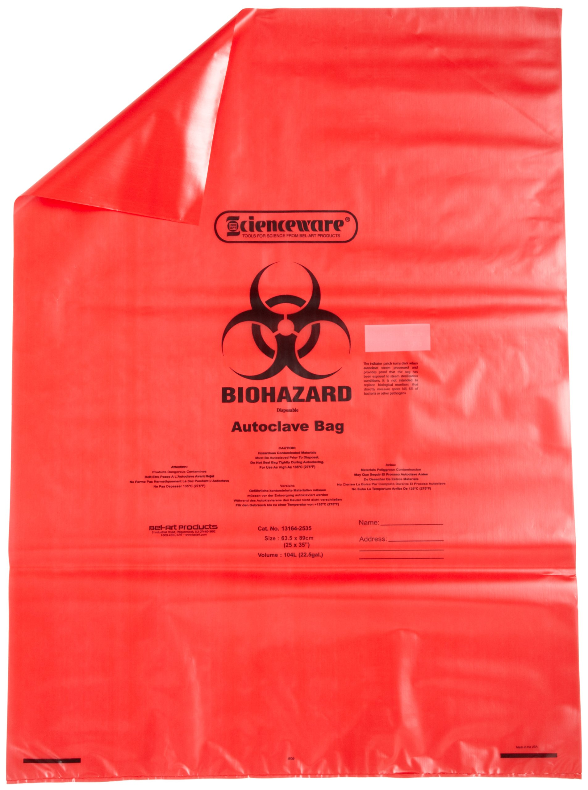 Bel-Art F13164-2535 Polypropylene 15-20 Gallon Red Biohazard Disposal Bags with Warning Label/Sterilization Indicator, 25W x 35 in. H, 1.5mil Thick (Pack of 200)