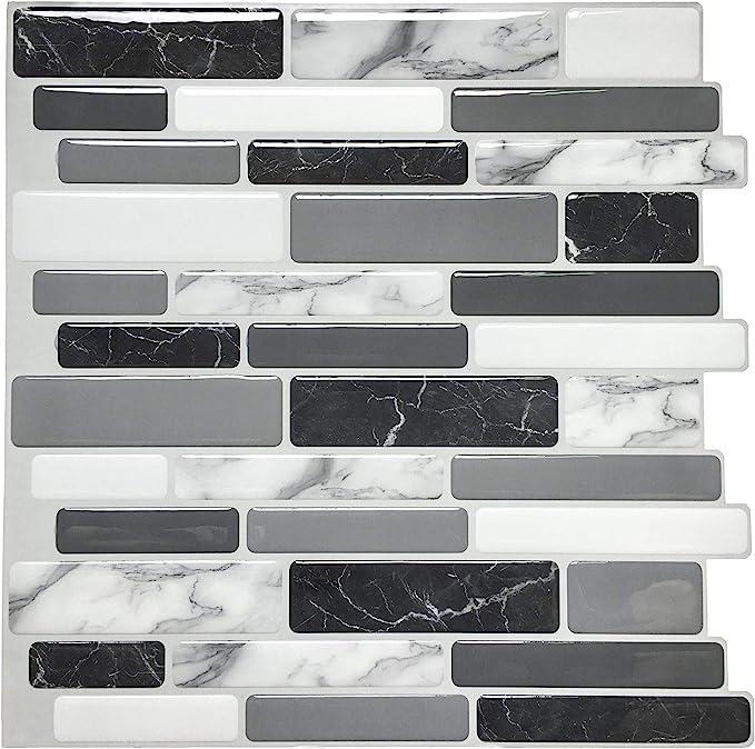 "Amazon.com: Art3d Peel and Stick Wall Tile for Kitchen Backsplash, 12""x12"", (10 Tiles): Home & Kitchen"