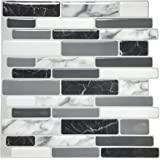 """Art3d 12""""x12"""" Peel and Stick Backsplash Tile for Kitchen, Marble Grey (6-Sheet)"""