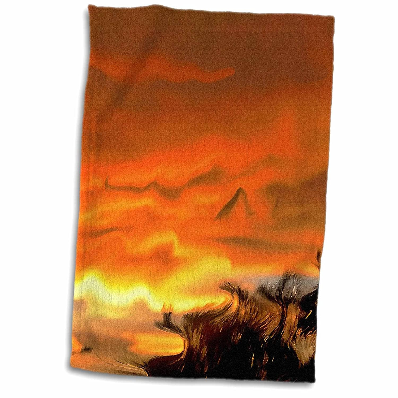 3D Rose Orange Yellow Brown Surrealism Sunset TWL_37287_1 Towel 15' x 22'