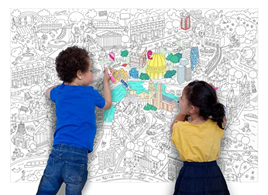 Amazon com omy design and play giant colouring poster london by omy toys games