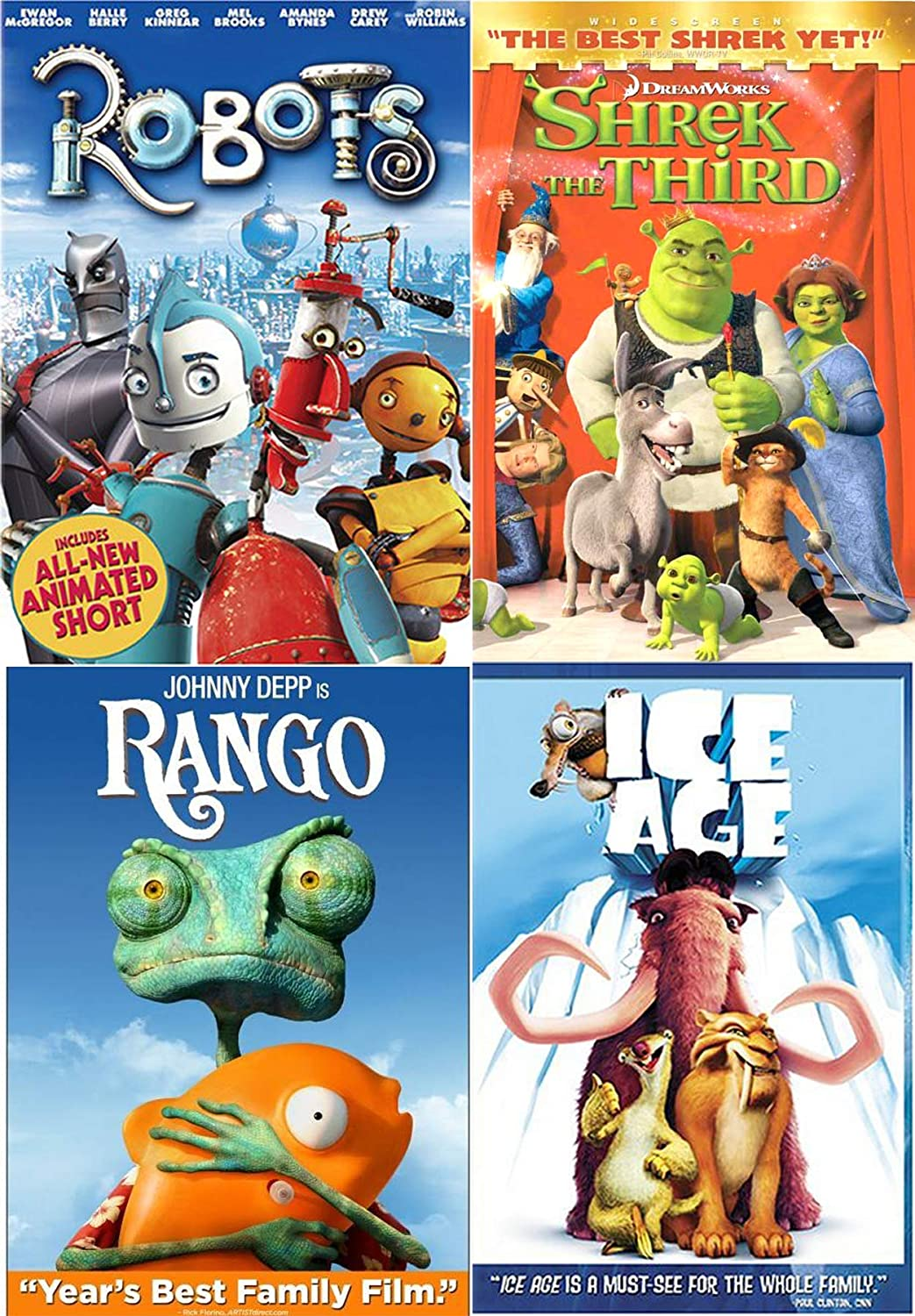 Amazon Com On The Lookout For Action And Adventure 4 Animated Movies Shrek Third Dreamworks Robots Ice Age Rango Kid Cartoon Family Pack Movies Tv