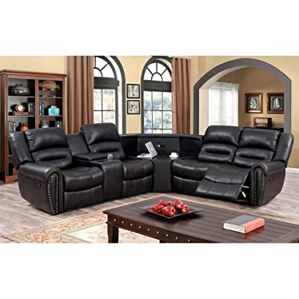 Amazoncom Furniture Of America Torrell Dark Brown Leather