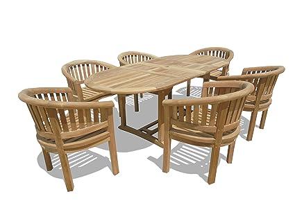 Amazoncom Windsor Premium Grade A Teak X Oval Double - Teak oval extension dining table