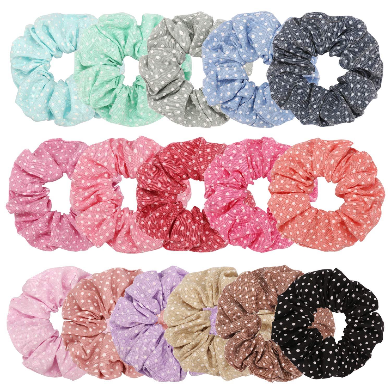0393de13d18b Amazon.com   TOBATOBA 16 Pack Hair Scrunchies Elastic hair ties Women s  Cotton Hair Scrunchies Hair Bow Cotton Ponytail Holder for women(16 COLORS)    Beauty