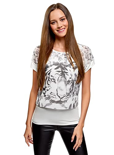oodji Collection Mujer Blusa Combinada con Estampado