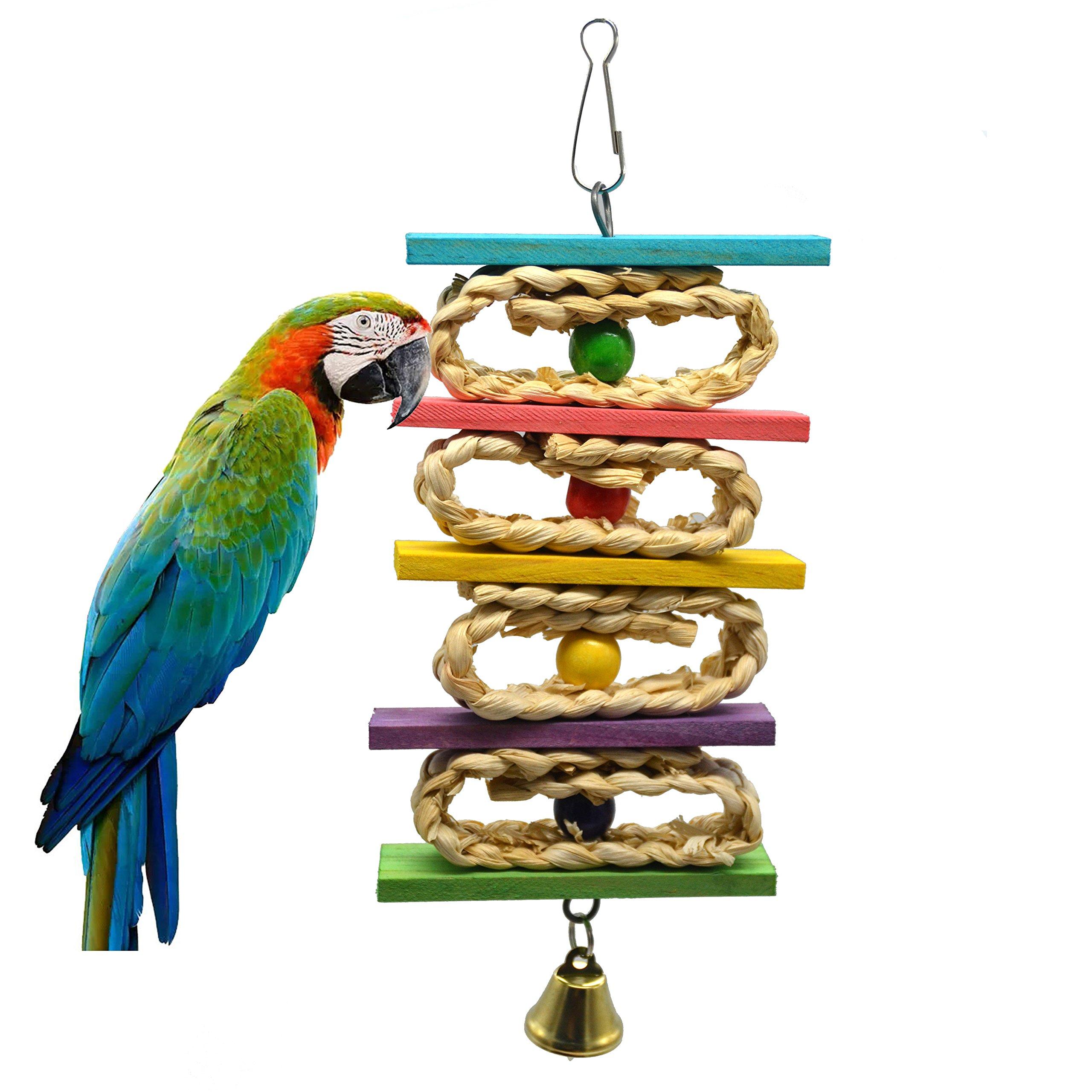 Mempa Parrot Toy,Bird Toys, Hanging Toy Parrot Nest Suitable Medium Small Parrots Birds. (Ladder)