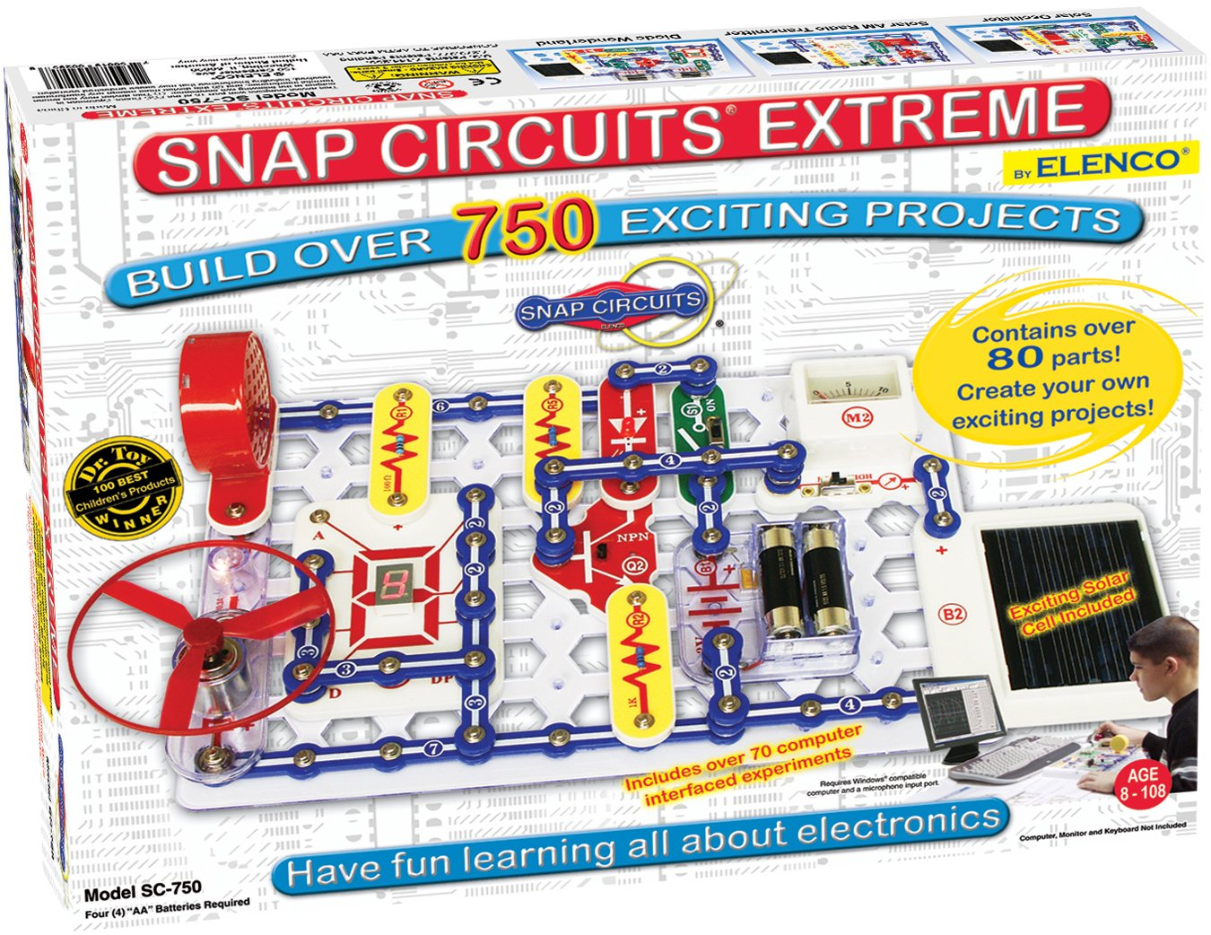 Snap Circuits Extreme SC-750 Electronics Exploration Kit | Over 750 Projects | Full Color Project Manual | 80+ Snap Circuits Parts | STEM Educational Toy For Kids 8+ by Elenco