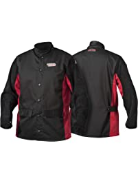 Lincoln Electric K2986-XL Shadow Split Leather Sleeved Jacket, X-Large, Black/Red