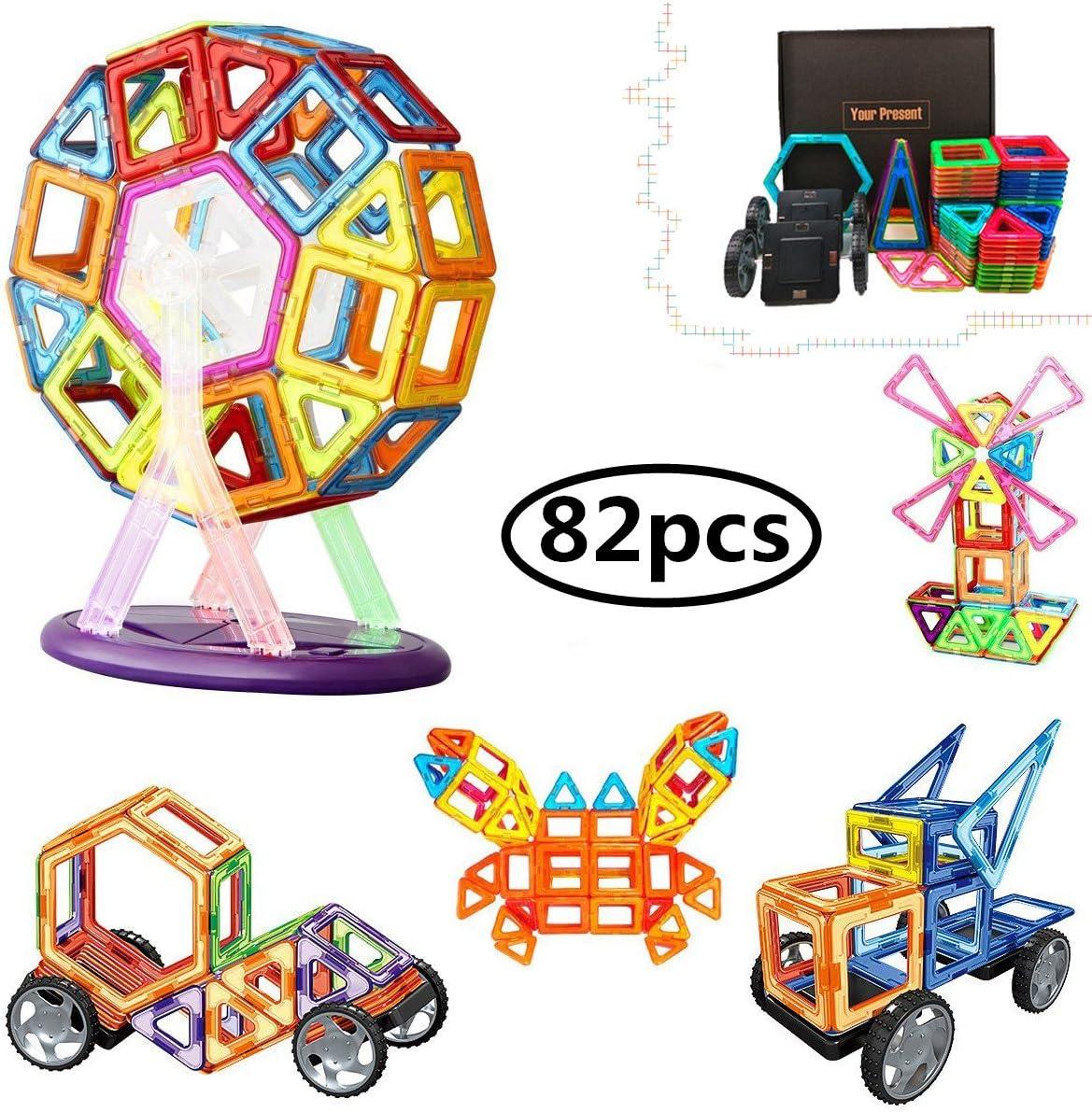 Bloques de construcción de Bloques magnéticos de 64 Piezas Juegos educativos para niños, de Morcare Construction Building Sets (80 pcs)
