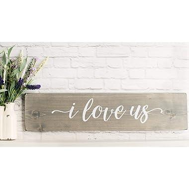 Grey i love us Wooden Sign - Rustic Handmade Farmhouse Wood Wall Decor