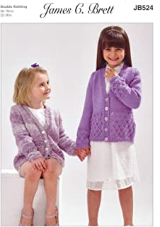 cd61e5b0d9d73 James Brett Childrens Knitting Pattern Girls Long Sleeved Lacy Cardigan  (JB524)