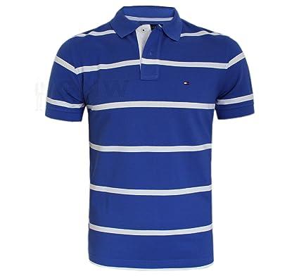 23856039 Tommy Hilfiger Men Stripe Polo T-Shirt/TEE Blue, Navy, White S/M/L/XL/XXL  (Small, Dazzling Blue): Amazon.co.uk: Clothing
