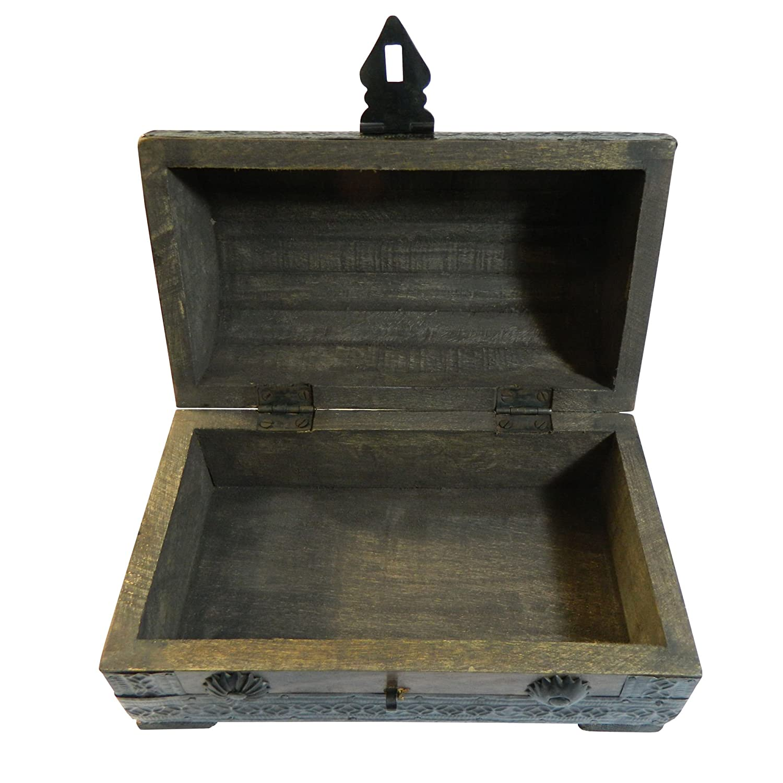 Cofre del tesoro caja de madera cofre pirata aspecto antiguo almacenamiento 21x12x12,5cm: Amazon.es: Hogar