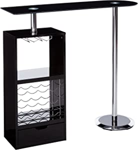 Coaster Home Furnishings CO- Bar Table W/Wine Storage, Black