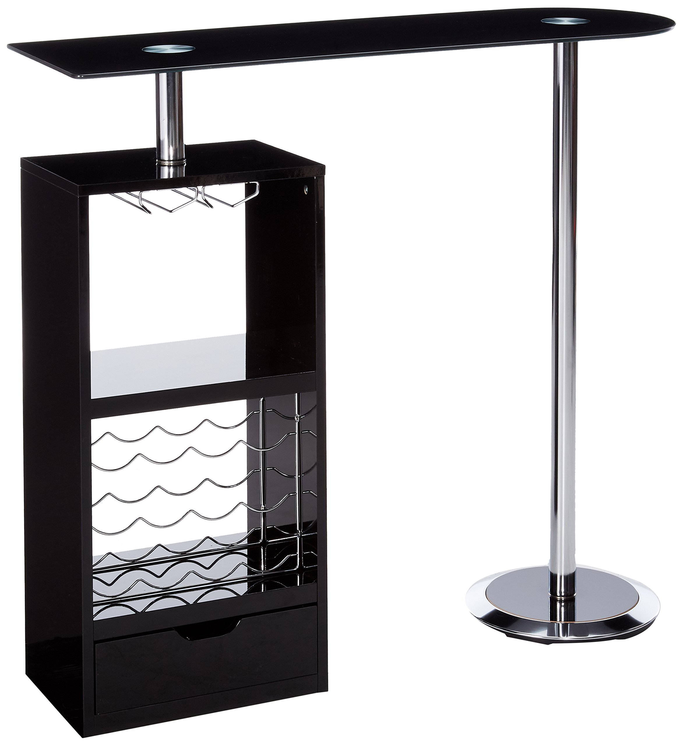 Coaster Contemporary Glossy Black Bar Unit with Sturdy Tempered Frosted Glass Top by Coaster Home Furnishings