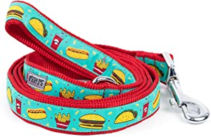 The Worthy Dog Fast Food Fest Hamburger Hotdog Fries Taco Soda Pattern Lead, Designer Comfortable Nylon Webbing Leash Fits Small, Medium and Large Dogs Turquoise Color
