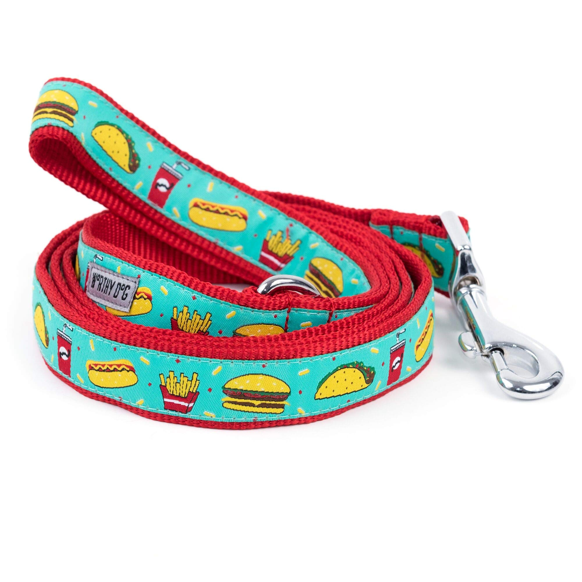 The Worthy Dog Fast Food Fest Hamburger Hotdog Fries Taco Soda Lead/Designer Pet Dog Leash, Turquoise, 1'' x 5'