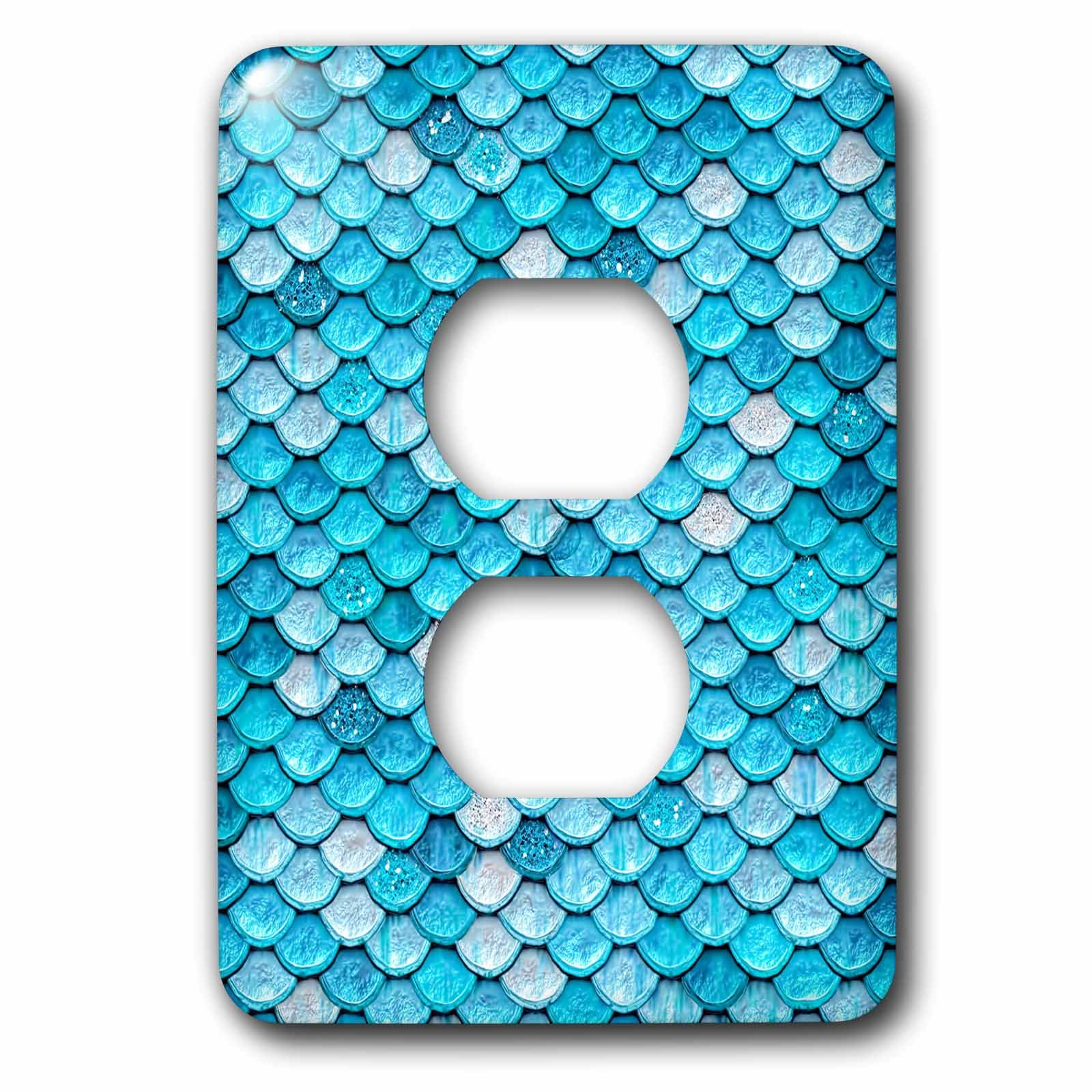 3dRose (lsp_266948_6) 2 Plug Outlet Cover (6) 2 Sparkling Teal Luxury Metal Mermaid Scales Glitter Effect Art Print