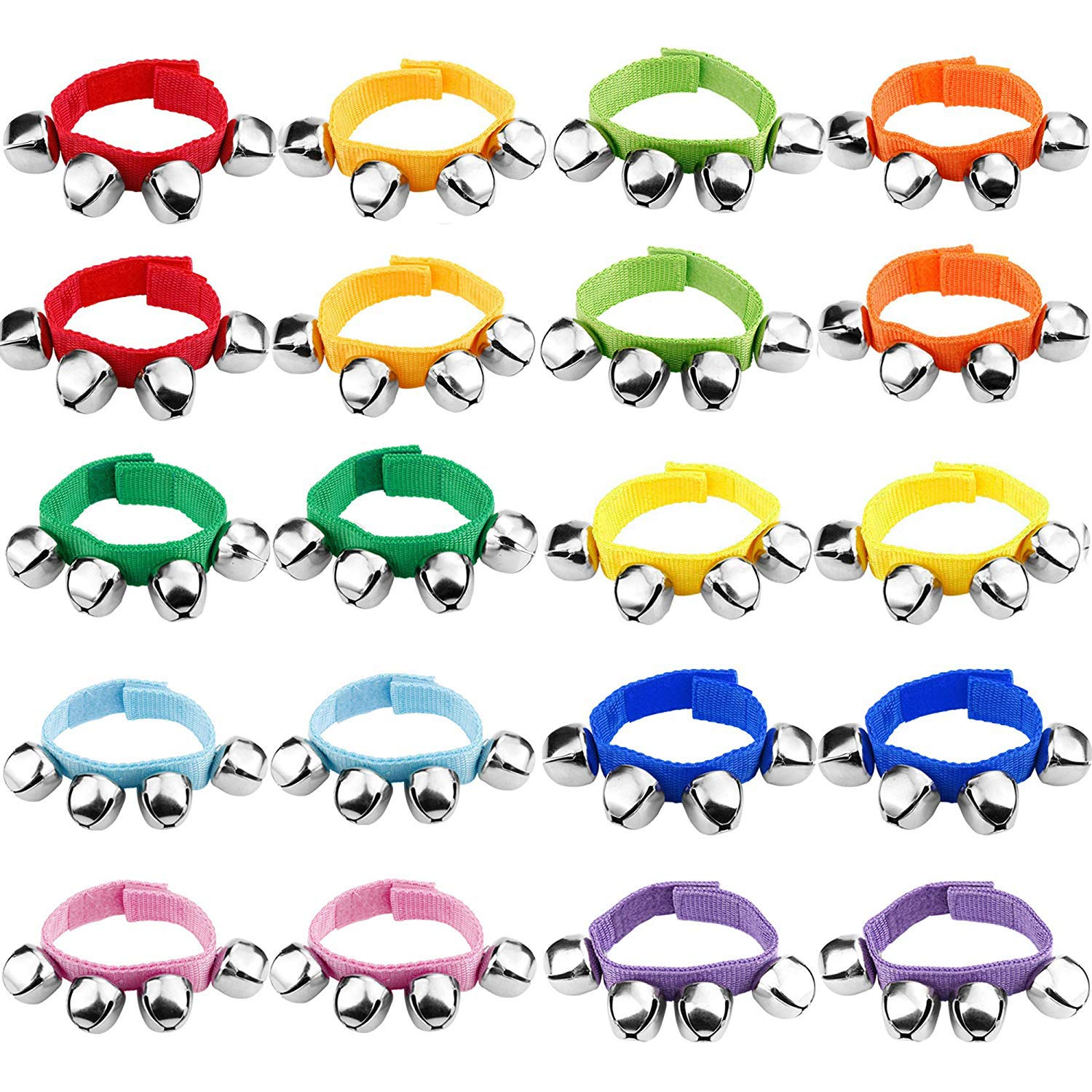 20Pcs Wrist Band Jingle Bells Musical Rhythm Toys Ankle Bells Instrument Percussion Orchestra Rattles Toy For Kids by Kwartz