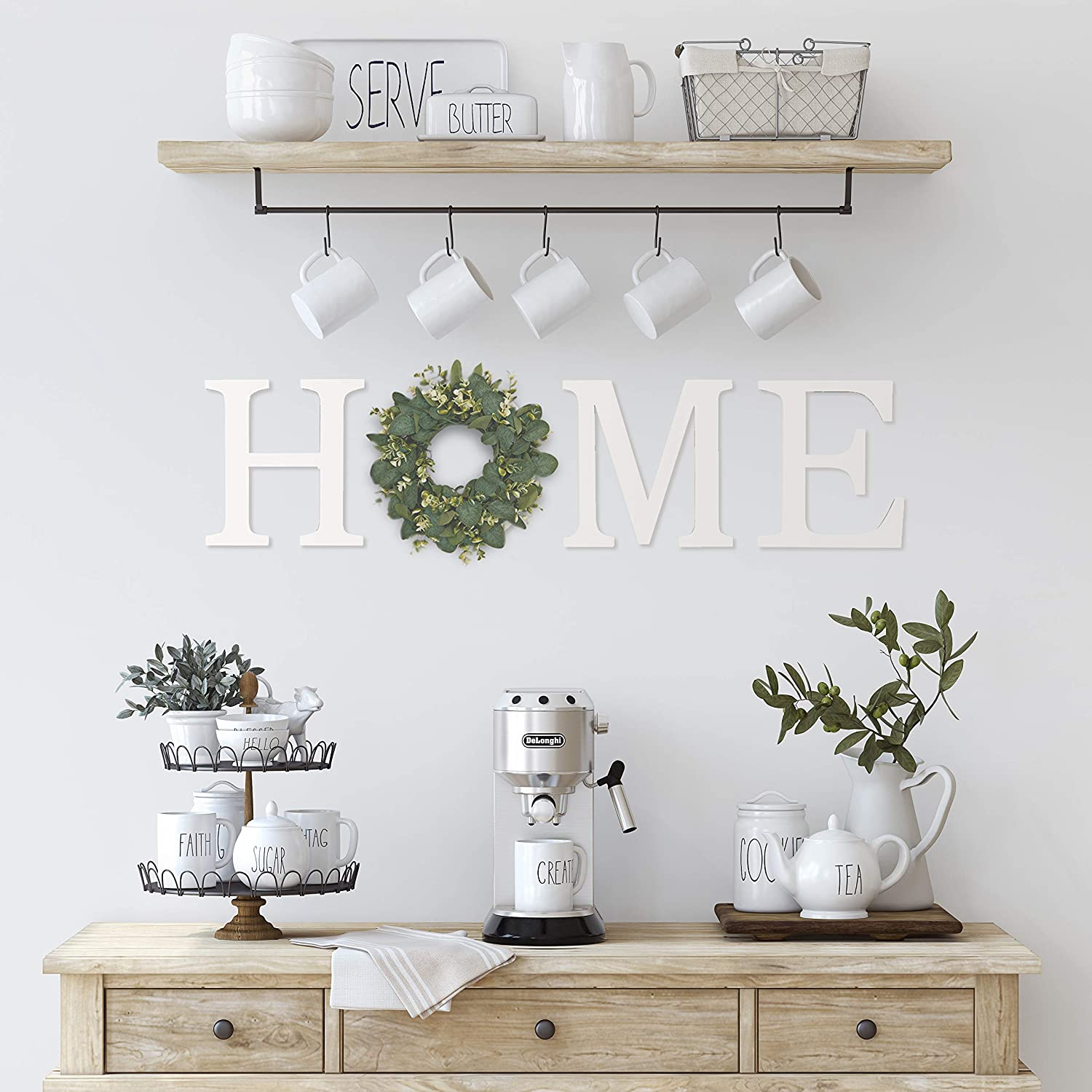 Hanging Home Letters for Wall, Farmhouse Signs for Home Decor Wall Display, Large Letters for Wall Decor with Wreath, Rustic Home Wall Decor with Wreath Cutouts (White)