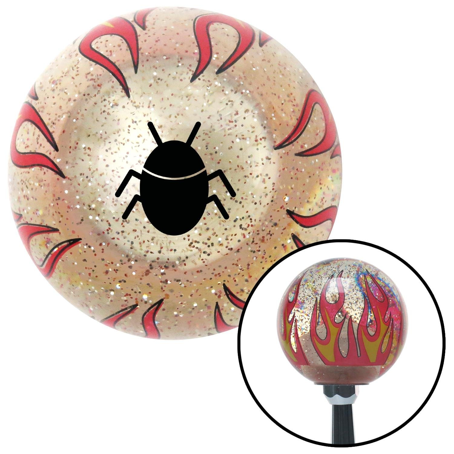 Black Bug Clear Flame Metal Flake with M16 x 1.5 Insert American Shifter 295162 Shift Knob