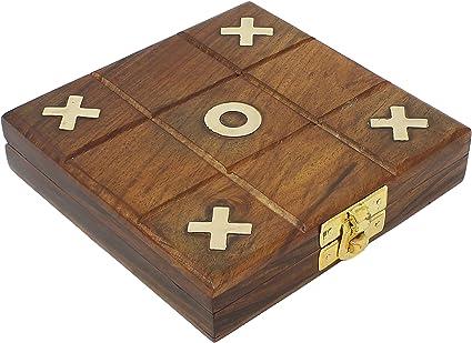 Brown SKAVIJ Wooden Handmade Travel Tic Tac Toe Board Game Brass Inlay Coins