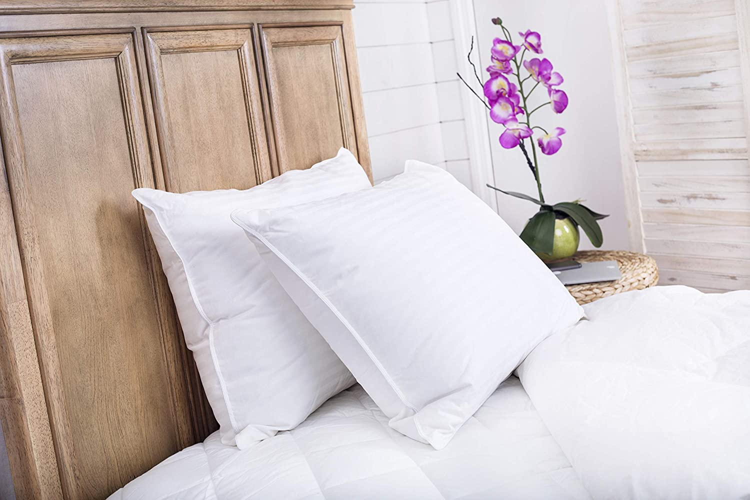 Set Of 2 Superior 100 Down Pillows 700 Fill Power 25oz Hungarian White Goose Down Sleeper 100 Cotton Striped Damask Shell Pillowcase Queen Size 20 X 30 Inch