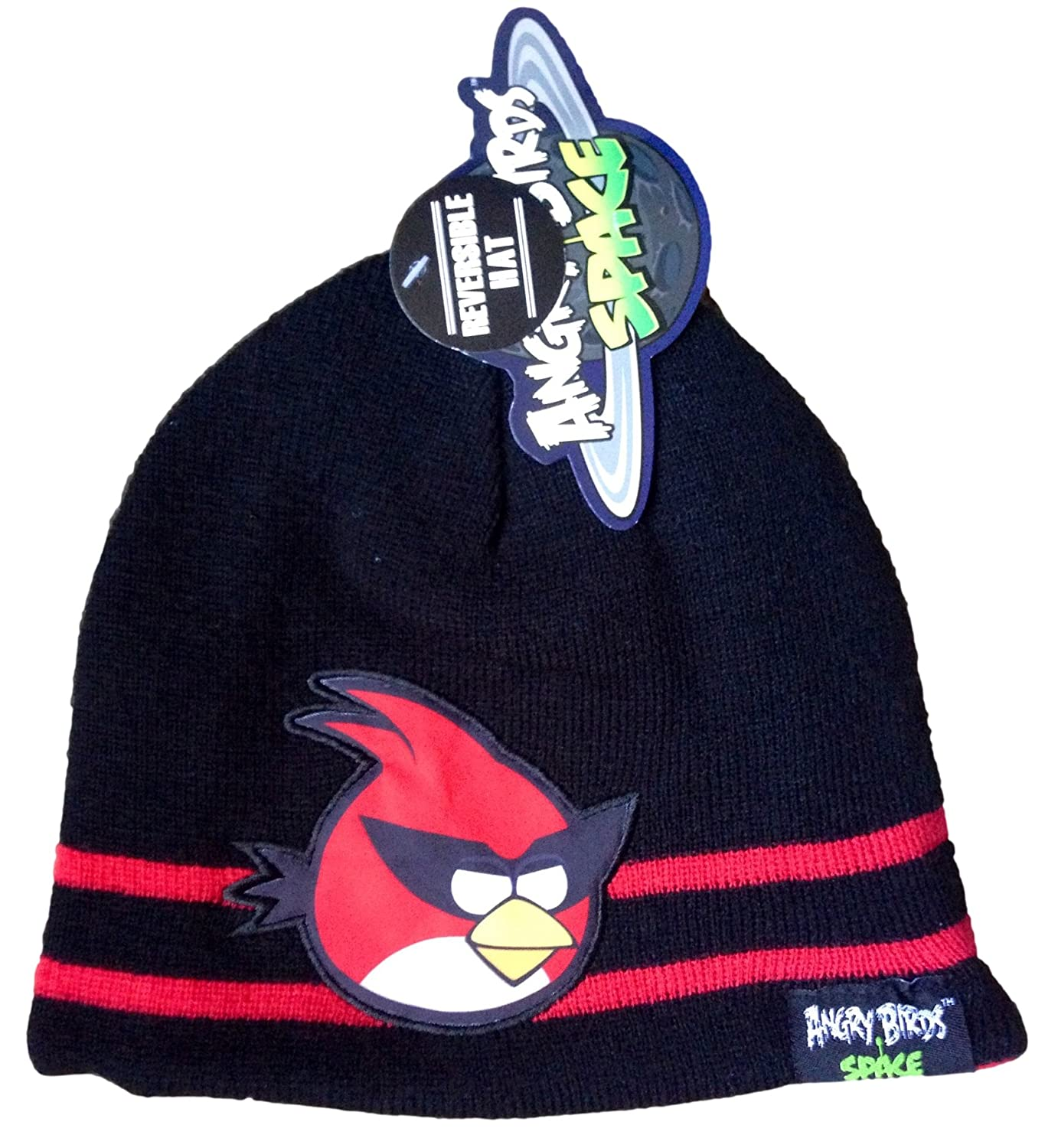 ANGRY BIRDS - Space - Adorable Red / Black Reversible Kids Beanie Hat