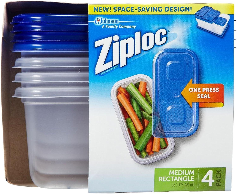 Ziploc Container Medium Rectangle , 4 CT (Pack of 3)