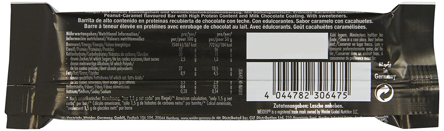 Weider 52% Low Carb Protein Bar 24 barritas x 50 gr: Amazon.es: Alimentación y bebidas
