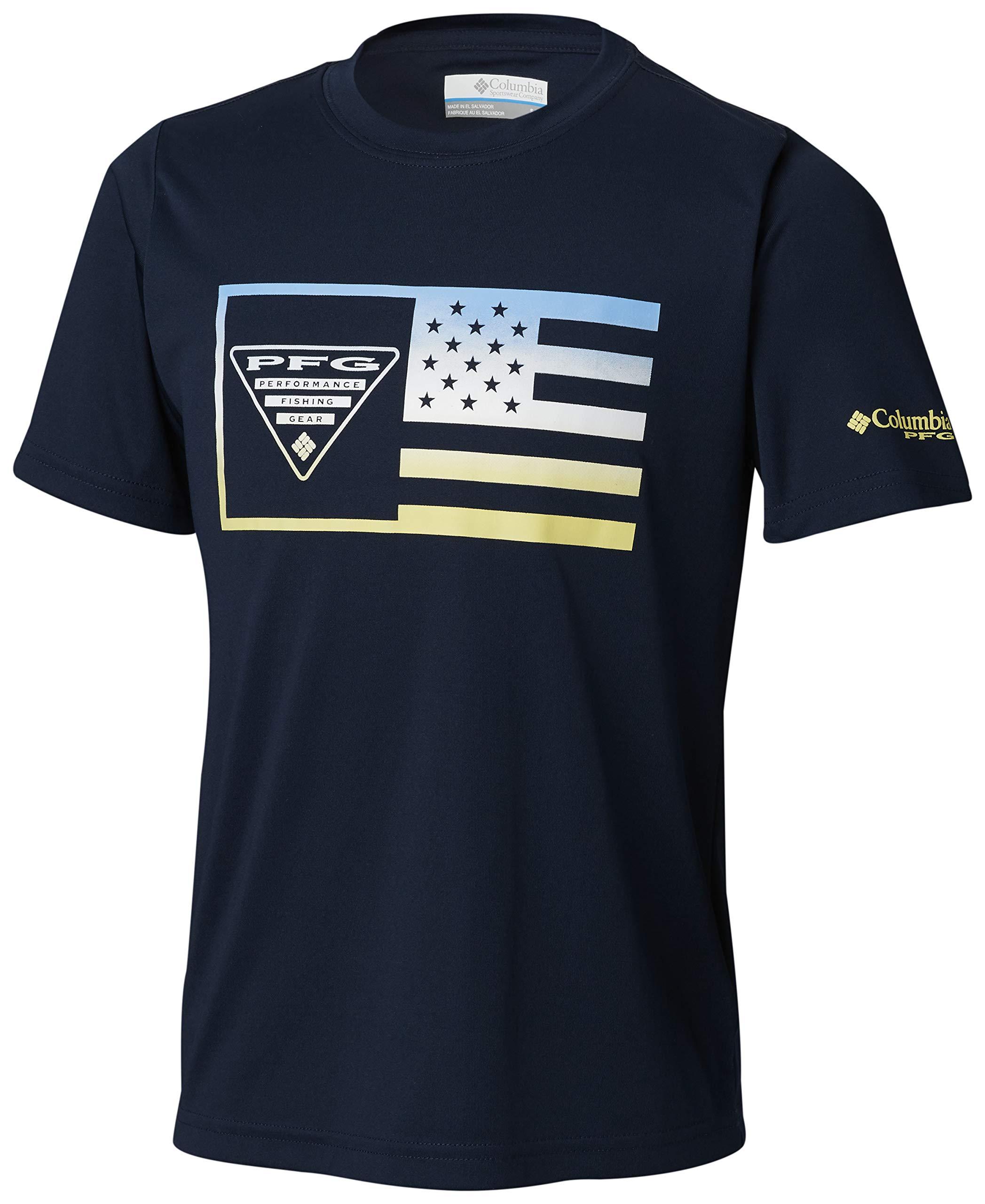 Columbia Boys PFGStamp Short Sleeve Shirt, Collegiate Navy Flag, Large