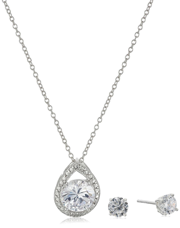 full set teardrop pendant. Amazon.com: Sterling Silver Cubic Zirconia Teardrop Pendant Necklace And Earrings Boxed Jewelry Set, 18\ Full Set