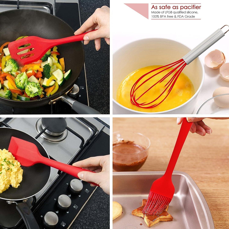 Set de 5 utensilios de madera Qyuhe® Premium, resistentes al calor para hornear de cocina, utensilios de silicona para cocina